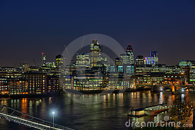 City of London over River Thames, at nightfall