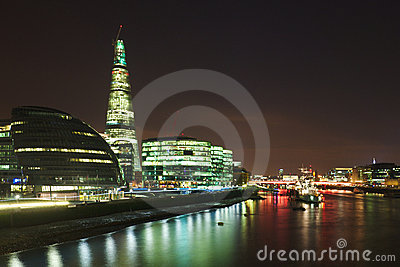 City of London: skyline of Thames bank at night
