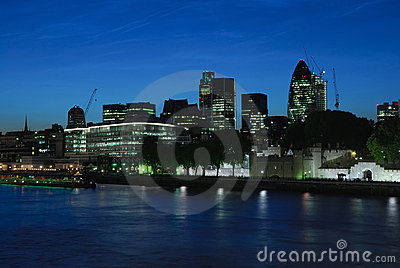 City of London UK at dusk
