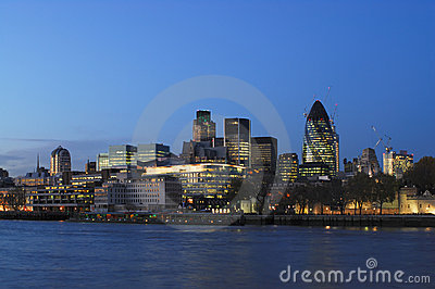 City of London UK from the south bank