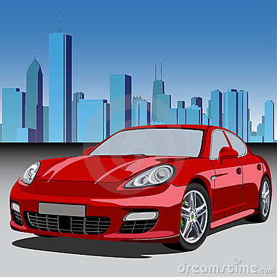 City and luxury car Editorial Stock Image