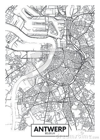 Free City Map Antwerp, Travel Vector Poster Design Royalty Free Stock Images - 144678259
