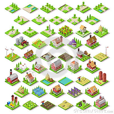 Free City Map Set 03 Tiles Isometric Royalty Free Stock Images - 65959469