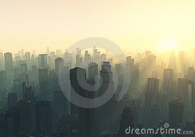 City at misty sunrise