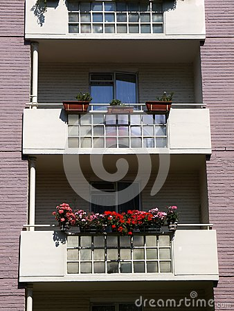 City: modernist apartment balconies