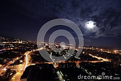 City at moonlight
