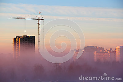 City in the Morning Fog