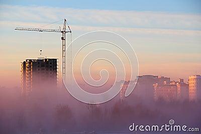 City in the Morning Fog