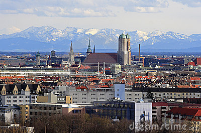 City of Munich with view to the alps