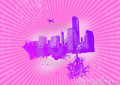 City and nature. Vector
