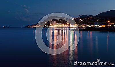 City near the sea at night