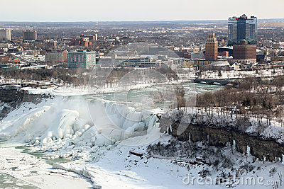 City of Niagara Falls New York Winter Editorial Image
