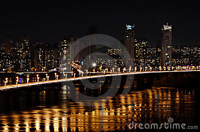 City at night and bridge with lights