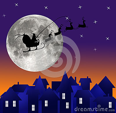 City at night. Santa on sky. Marry christmas