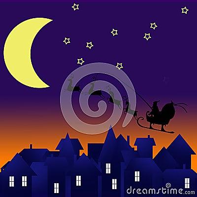 City at night. Santa on sky. Marry christmas