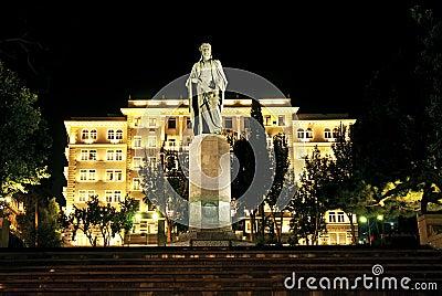 City night scene in baku azerbaijan