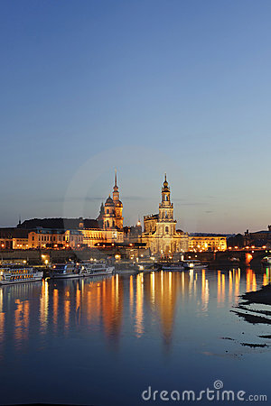City night scenery in Dresden, Germany,Europe
