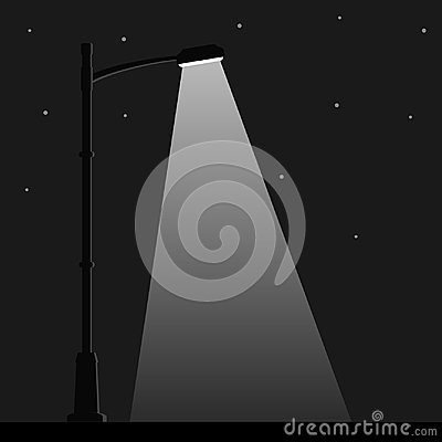 Free City Night Street Light With Light From Streetlight Lamp. Outdoor Lamp Post In Flat Style. Spotlight Stock Photography - 108019892