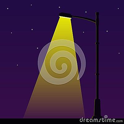 Free City Night Street Light With Light From Streetlight Lamp. Outdoor Lamp Post In Flat Style. Spotlight Vector Illustration Royalty Free Stock Photo - 107953585