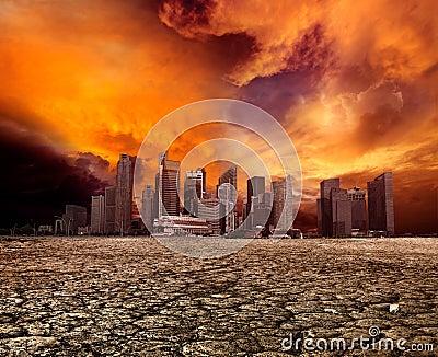 City overlooking desolate landscape