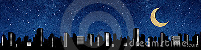 City panorama silhouettes recycled paper craft