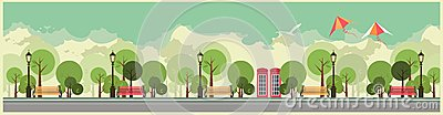 City Park Vector Illustration