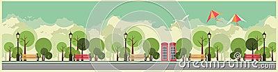 City Park Vector Illustration