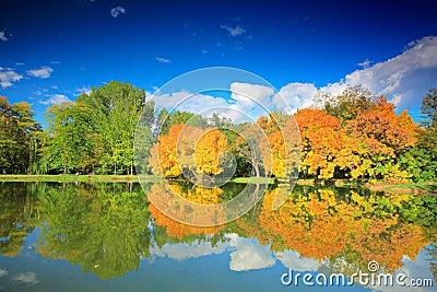 City park in autumn in Skopje