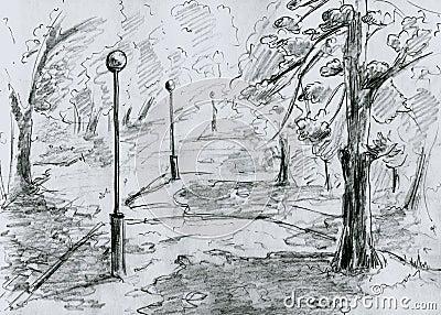 City park, sketch