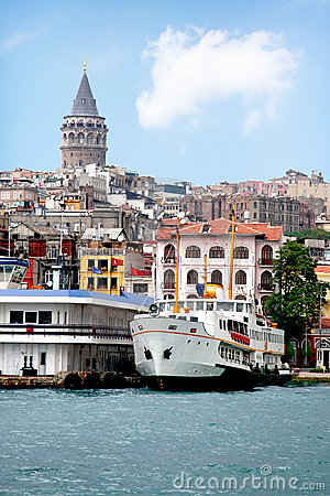 City port with a boat in Istanbul