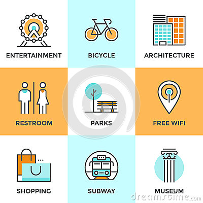 City public objects line icons set stock vector image for Architecture wifi
