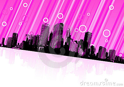 City reflection on water. Vector