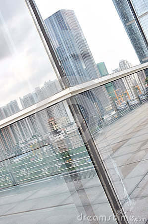 City reflection on window
