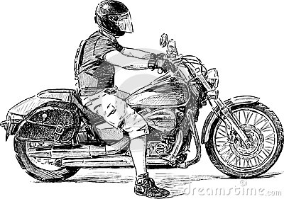 How To Draw A Motorcycle With A Rider