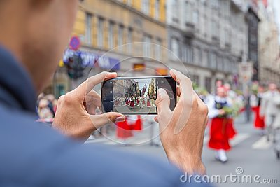 Choral Festival, singers at street, national costume and culture Editorial Stock Photo