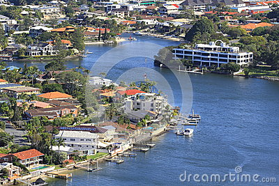 City by the river living aerial view Editorial Photography