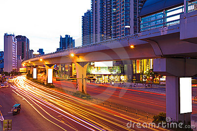 City road with motion light