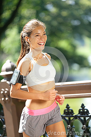 City runner jogging with music in New York City
