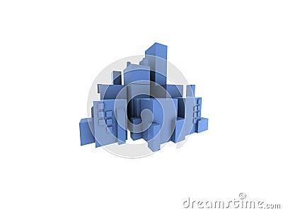 City scape blue
