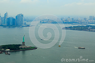 City scape on the Hudson River in New York City