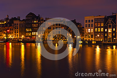 City scenic from Amsterdam Netherlands by night