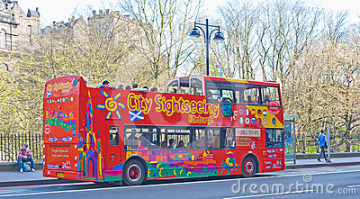 City sightseeing bus in Edinburgh. Editorial Image