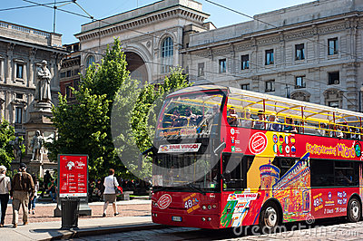 City sightseeing service in Milan Editorial Stock Photo