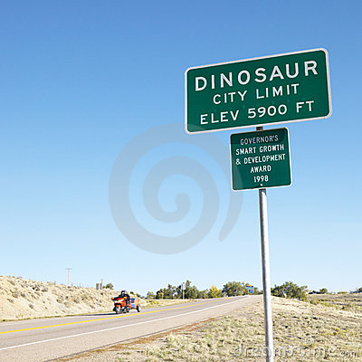City sign for Dinosaur, CO