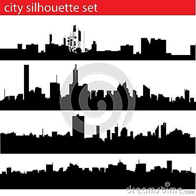 City silhouette set