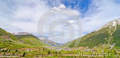 The City of Silverton nestled in the San Juan Mountains in Colorado