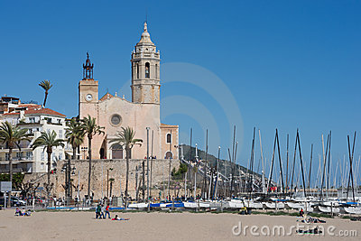 The city of Sitges in  Spain Editorial Stock Photo