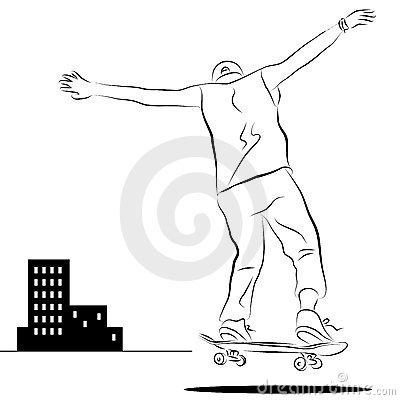City Skateboard Rider Line Drawing