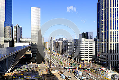 City skyline and construction of Rotterdam Station Editorial Photography