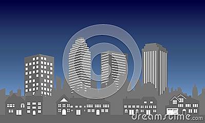 City skyline with houses